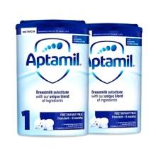 英国Aptamil爱他美 婴儿奶粉 1段(0-6个月宝宝)900g(2件装)(保税仓发货)