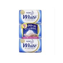 日本进口花王KAO white天然植物沐浴香皂 保湿持久芳香护肤130g*3