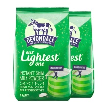澳大利亚DEVONDALE德运高钙脱脂成人儿童牛奶粉1KG(保税仓发货)(2件起购)